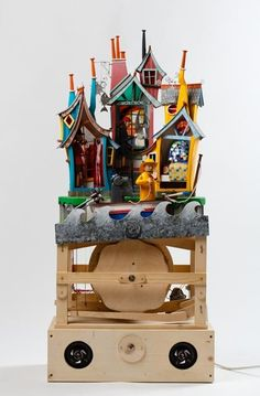 Falmouth Art Gallery | The Permanent Collection | FAMAG 2014.17 | Newstead, Keith (born 1956): The Cornish Cultural Triangle, signed, automaton, 107 cms high. Commissioned with funding from the Heritage Lottery Fund as part of the Cultural Triangle Project. Mechanical Art, Kinetic Art, Crafty Projects, Fun Learning, Benches, Diy Design, Gears, Whimsical, Art Gallery