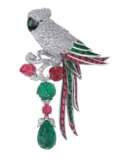 Parrot-motif brooch. Platinum, rubies, emeralds, diamonds. © Cartier 2011
