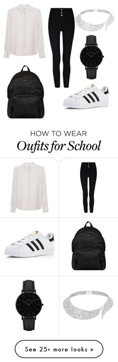 """School"" by annik2005-28 on Polyvore featuring Frame Denim, adidas, Hogan, Messika and CLUSE"