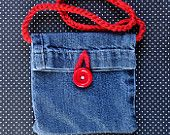 Up-cycle Blue Jean Mini Purse With Crochet Strap & Button Accent - Blue Jean/RedButton