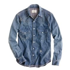 Chimala® denim western shirt from J Crew. I'm in love with denim! My Life Style, My Style, Blue Denim Shirt, Denim Shirts, Men's Denim, Japanese Denim, J Crew Men, Tailored Suits, Western Shirts