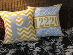 2 Personalized porch pillows initial address house number yellow and gray