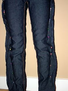 Turning an old pair of jeans into skinny jeans! I need to do this.
