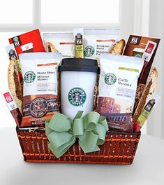 This gift will be a hit for the Starbucks® coffee lover on the go. The hot/cold travel mug will be a daily favorite and it will come with four types of coffee - French Roast, Caffe Verona, House Blend and Sumatra, two types of Starbucks® VIA® ready brew, and caramel chocolate biscotti.
