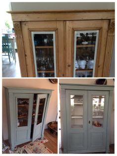 De vitrinekast is gedaan in Annie Sloan krijtverf Duck Egg Blue buitenkant en binnenkant old white doorgeschuurd en afgewerkt met Clear Wax