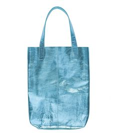 Blue Metallic Leather Tote