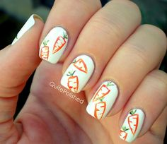 The creator of this mani wants vegi print to become a thing just like floral print is a thing...who wants to help her out, haha?  Too cute!