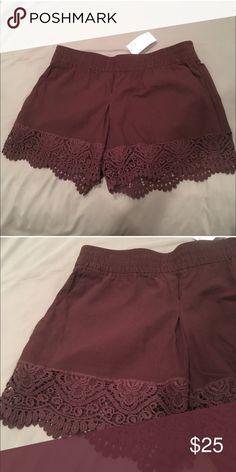 H&M Burgundy Lace Shorts Super cute shorts with pockets and lace trim. Elastic waist. The color is like a burgundy but also looks almost chocolate brown in some light. These are brand new with tags- size 12 - fit like a L. H&M Shorts
