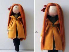 Autumn doll Interior doll Handmade doll Soft doll Textile doll Art doll Cloth doll yellow doll Tilda doll Fabric doll by Master Olesya N.