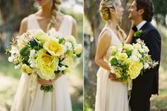 flowerwild  | pale yellow bridal bouquet with green ranunculus