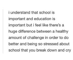 Don't get me wrong I actually enjoy school and learning about new things but when you have an emotional/mental breakdown twice a week because it's all just too much. That's when you know there's a problem.<<< actually true. I Hate School, School Stuff, High School, Mental Breakdown, Describe Me, When You Know, I Can Relate, Text Posts, So True