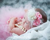 Cute Pink and Pearl headband for new born baby photo!