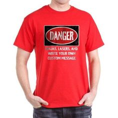 Cafepress Personalized Danger Sign Dark T-Shirt, Size: XL, Red