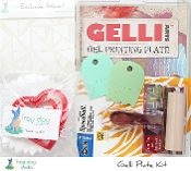 "Gelli Plate Kit Gelli Plate Kit includes: 8x10 Gelli Arts Gelli Plate 4"" Speedball Soft Rubber Brayer (2) Two Princeton Art Catalyst Contour Tools Exclusive 6x6 Frog Dog Studio Stencil Frog Dog Studio Texture Pack (contents may vary from shown)"