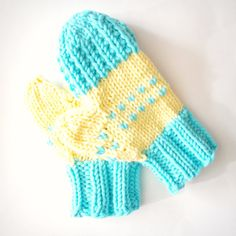 Yellow and teal hand knit mittens soft mitts by FruitofPhalanges, $32.00