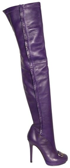 Versace Purple 120mm Stretch Leather Thigh High Boots
