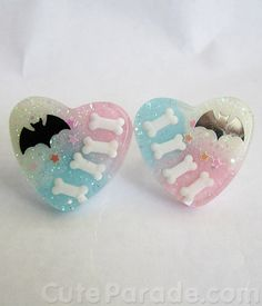 Bat to the Bone Adjustable Heart Ring (Pick 1) Fairy Kei Kawaii Creepy Cute Lolita Pastel Goth
