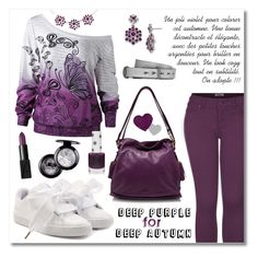 """Deep Purple for Deep Autumn"" by drinouchou ❤ liked on Polyvore featuring 2LUV, Puma, Loewe, Topshop, NARS Cosmetics, 1928 and rag & bone"