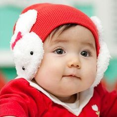 Newborn Infant Baby Winter Thicken Faux Fleece Stitching Guard Cap Cute Rabbit Ears Warmer Contrast Color Beanie Hat Earmuffs Men's Skullies & Beanies