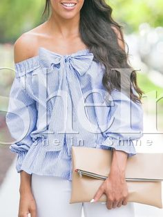 http://es.shein.com/Blue-Off-The-Shoulder-Bow-Tie-Striped-Blouse-p-271062-cat-1733.html