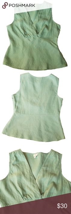 """J Jill 100% Linen Sage Sleeveless Empire Waist Top Sage Green Fitted Faux Wrap Top in good pre-owned condition. No rips, tears or staining (looks new). Has a 10 1/2""""  hidden zipper for ease of fit under the left arm. Very fitted with a faux wrap front detailing & shirt tail hem. Has bust darts and gathers at the shoulder with an empire waist. Simple Elegance!   Measurements (laying flat):?Width @ underarm 20"""", waist 18"""", hem/hips 23"""", length v neck to hem 15 1/2"""", length back to hem 24""""…"""