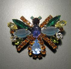 GORGEOUS Multi Color Rhinestone Butterfly