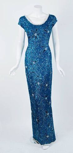 1950's Gene Shelly Beaded Sequin Royal-Blue Wool Knit Hourglass Evening Gown