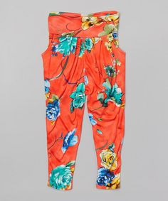This Red Floral Harem Pants - Girls by LittleVMen is perfect! #zulilyfinds