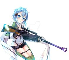 SAO / Sword Art Online - Sinon Render by Lelitaa.deviantart.com on @DeviantArt #animegirl #gun #render #sao #sinon #swordartonline #saosinon