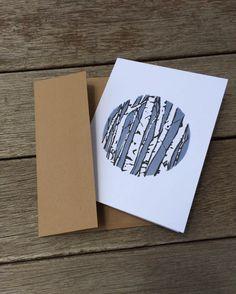 Linocut Card Printed Cards Birch Tree Card by HearthandHarrow Linolium, Stencil, Impression Textile, Linoleum Block Printing, Linoprint, Tampons, Linocut Prints, Woodblock Print, Letterpress