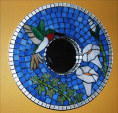 Mosaic Mirror or Frames Set of Two Cardinal por NatureUnderGlass