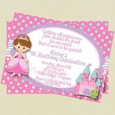 Invitation anniversaire princesse à par NoteworthyPrintables