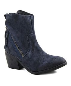 Navy Joane Suede Ankle Boot