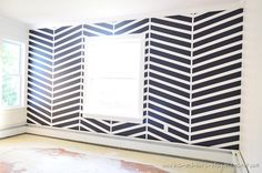 Fabulous Navy & White Herringbone Accent Wall Reveal at His & Hers