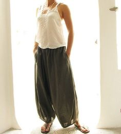 Beautiful, soft and elegant linen fabric.    Similar to our popular drop-crotch pants, however the crotch on this piece is not as low! The 2 leg