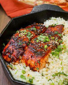 Rice Recipes, Shrimp Recipes, Salmon Recipes, Asian Recipes, Dinner Recipes, Cooking Recipes, Healthy Recipes, Baby Food Recipes, Firecracker Salmon