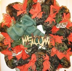 Deco Mesh Mossy Oak Breakup Camouflage Wreath for Indoor/Outdoor Use