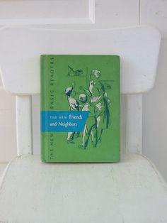 House colors Vintage Children Book Reader School Green Friends by vintagejane, $19.00