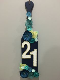 Re-created from a paddle I found on Pinterest for my friends 21st birthday. So simple, yet so glam!