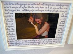 A Pinterest-inspired project: first dance lyrics typed on photo mat! (I'm too OCD to handwrite them)