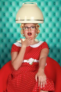 Stylish Retro Woman Having Her Hair Dried. Retro Woman Having Her Hair Dried , Permed Hairstyles, Retro Hairstyles, Vintage Hair Salons, Wet Set, Pin Up, Salon Style, Salon Design, Curlers, Beauty Shop