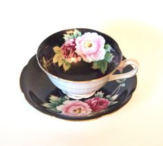 Occupied Japan Teacup Hand Painted Black with Pink and Purple Roses Regina China Circa 1950's by HouseofLucien