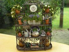 Miniature Dollhouse Garden Metal Shelf by Minicler on Etsy