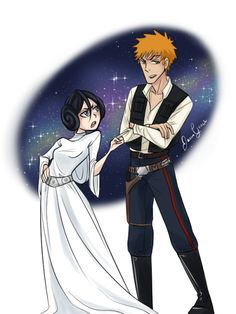 jenngraceart:  Day 4: Ichigo and Rukia as Han Solo and Leia, inspired by this post.                                                                                                                                                      More