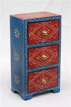 Hand-painted 3-drawer Almirah Jewelry Box - $59.95