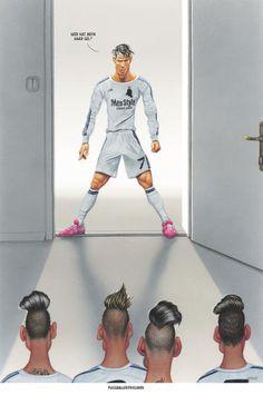 """Haderer-Karikatur vom 18. April 2015: """"Fußballerfrisuren"""" Mehr Karikaturen auf: http://www.nachrichten.at/nachrichten/fotogalerien/cme14862,1253665 (Bild: Haderer)"""