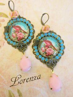 Boucles retro romantiques les oiseaux bleus  par lorenza33 sur Etsy