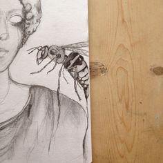 Waspy woman - graphite drawing. Mine...
