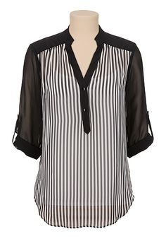 3/4 roll tab sleeve stripe chiffon blouse