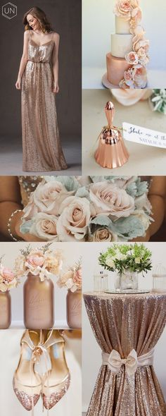 Unbridely - rose gold wedding inspiration board